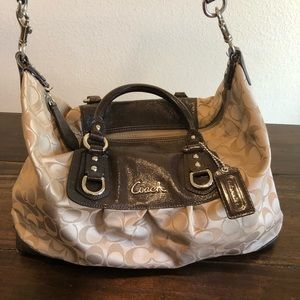 Coach brown patent leather purse